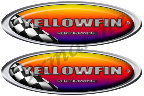 "Two Yellowfin Racing Sticker Set. 10""x3.5"" each"