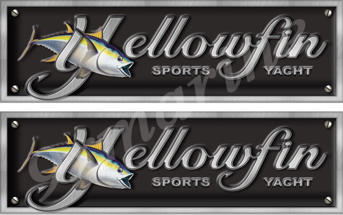 "Two Yellowfin Imitation Sticker Set. 10""x3"" each"