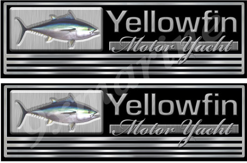 "Two Yellowfin Imitation Classic Sticker Set. 10""x3"" each"