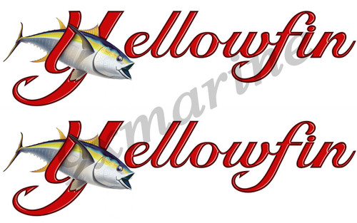 "Two Yellowfin Die-Cut Stickers 16""X4"" long"