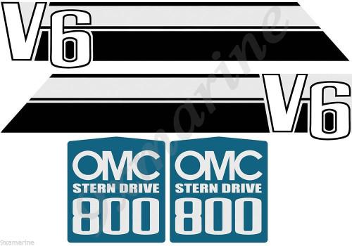 OMC 800 Stringer Stern Drive Sticker Set