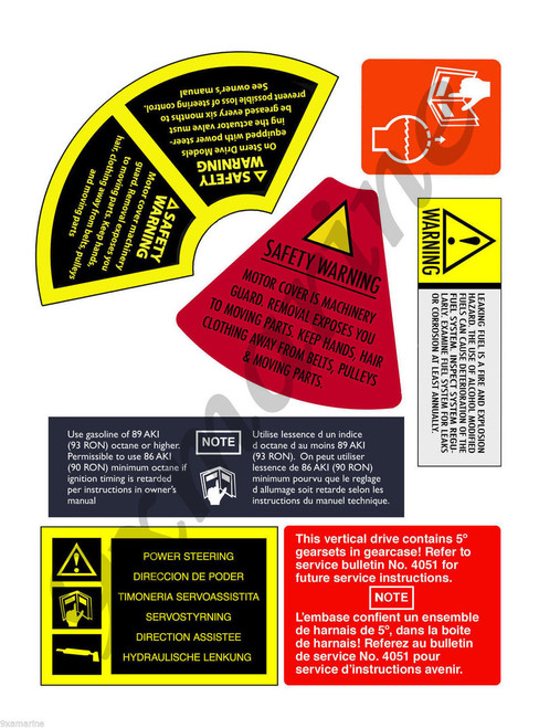 OMC Cobra and King Cobra Remastered Flame Arrestor Warning Sign Stickers