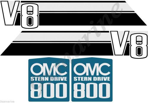 OMC 800 Stringer V8 Stern Drive Sticker Set
