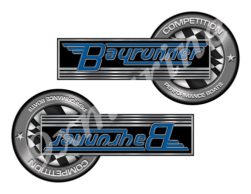 """Bay Runner Classic Competition Stickers 8""""x4"""""""