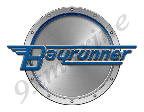 "Bay Runner Remastered Sticker. Brushed Metal Style - 7.5"" diameter"