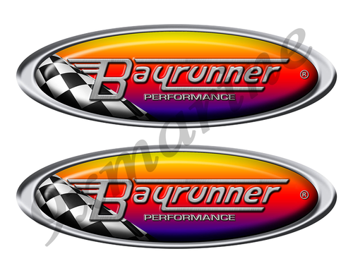 Two Bay Runner Racing Oval Stickers