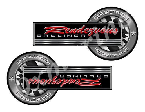 """Bayliner Rendezvous Classic Competition Stickers 8""""x4"""""""