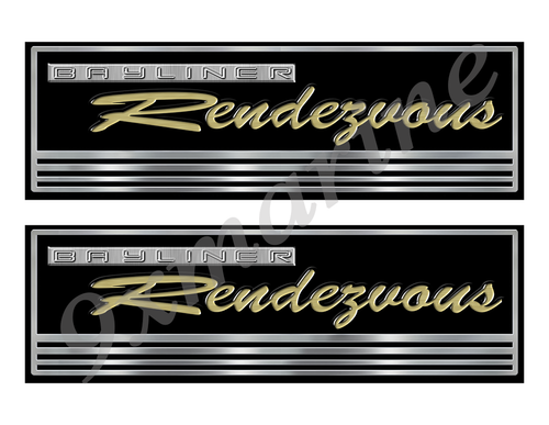 Bayliner Rendezvous Custom Stickers - 10 inch long set. Remastered Name Plate