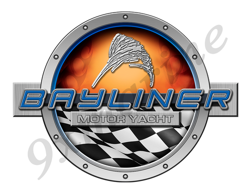 Bayliner Racing Boat Round Sticker - Name Plate