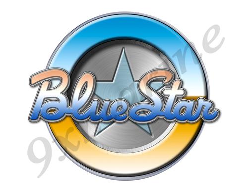 """Single Blue Star Round Sticker - 7.5""""x7.5"""" diameter"""