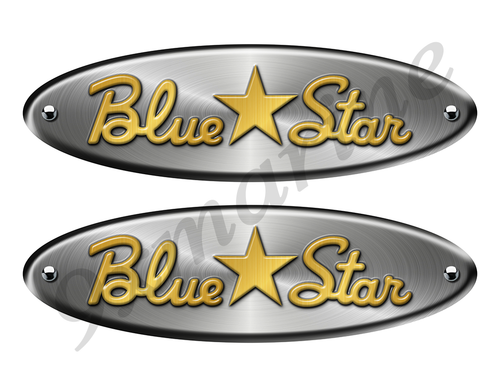 """Blue Star Oval Remastered Stickers. Brushed Metal Style - 10"""" long"""