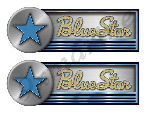 """Two Blue Star Stickers for Boat Restoration - 10"""" long each"""