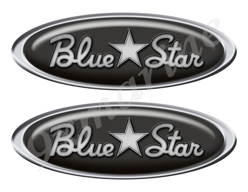 """Two Blue Star Classic Oval Stickers 10"""" long"""