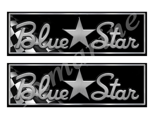 """Blue Star Classic Racing 10"""" long Stickers"""