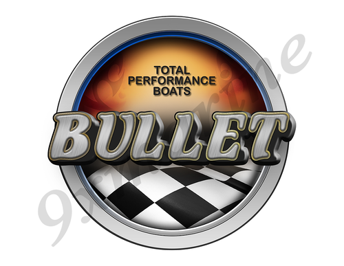 Bullet Racing Boat Round Sticker - Name Plate