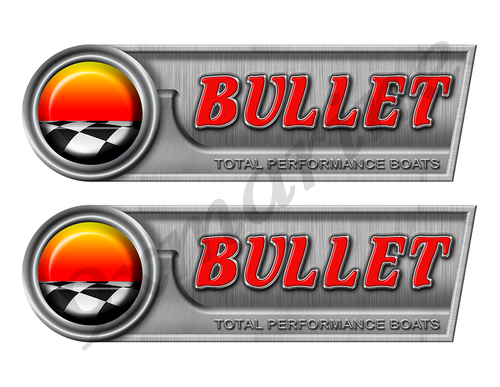 "Bullet Retro Sticker set - 10""x3"". Remastered Name Plate"