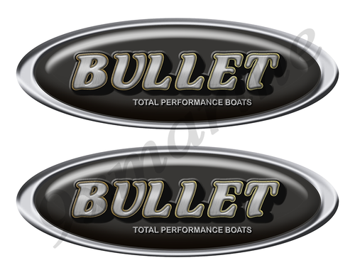 """Two Bullet Classic Oval Stickers 10"""" long"""