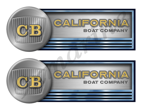 "Two California Stickers for Boat Restoration - 10"" long each"