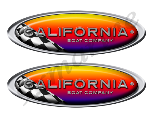 Two California Racing Oval Stickers