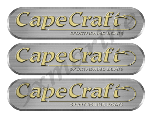 "3 Cape Craft Remastered Stickers. Brushed Metal Style - 10"" long"