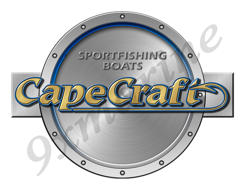 "Cape Craft Remastered Sticker. Brushed Metal Style - 7.5"" diameter"