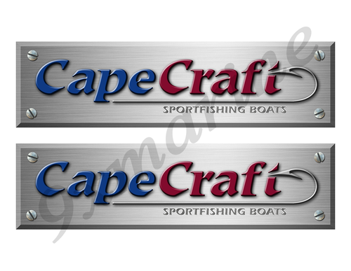 "2 Cape Craft Remastered Stickers. Brushed Metal Style - 10"" long"