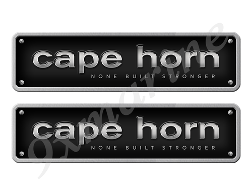 """Two Cape Horn Stickers - 10"""" long set. Replica Name Plate in Vinyl"""
