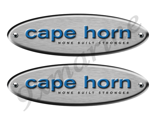 """2 Cape Horn Remastered Stickers. Brushed Metal Style - 10"""" long"""