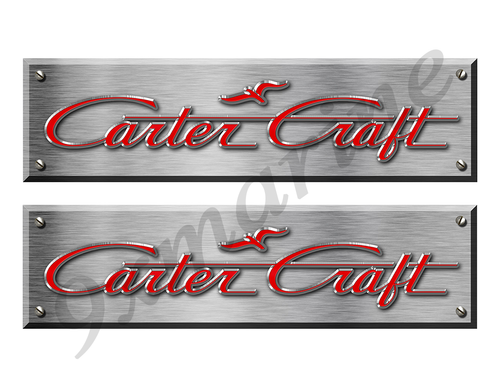 "Carter Craft Remastered Stickers. Brushed Metal Style - 10"" long"
