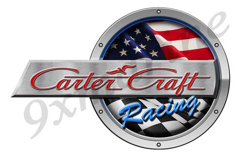 "One Carter Craft Racing Round Sticker 15""x10"""