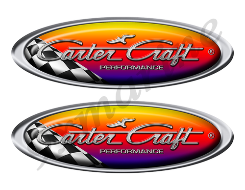 Two Carter Craft Racing Oval Stickers