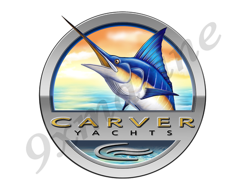 "Carver Marlin Round Designer Sticker 7.5""x7.5"""