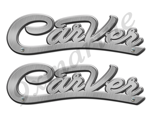 "Carver Boat Stickers Brushed Metal Look - 10"" long"