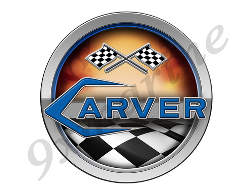 Carver 60s Racing Boat Round Sticker - Name Plate