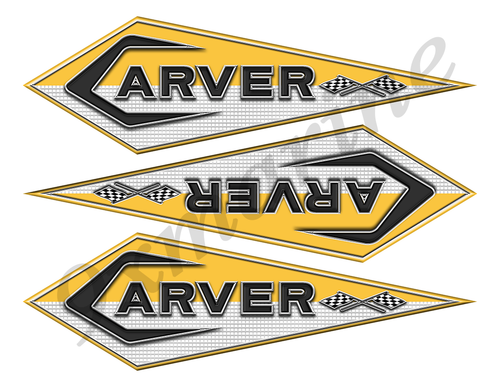"3 Carver Boats Classic Vintage Stickers Remastered 10""x3"""