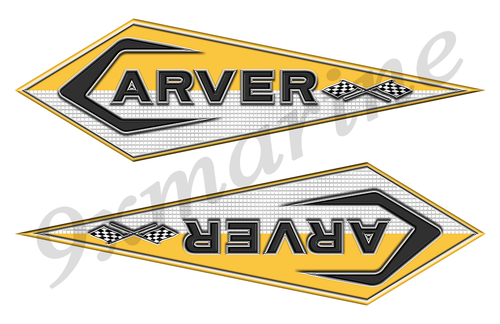 "2 Carver Boats Classic Vintage Stickers Remastered 16""x5"""
