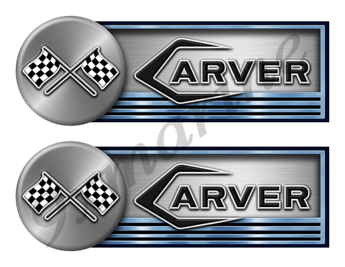 """Two Carver 60s Stickers for Boat Restoration - 10"""" long each"""
