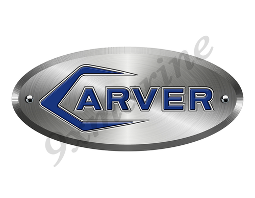 "Carver 60s Boat Sticker Brushed Metal Look - 10""x4.5"""