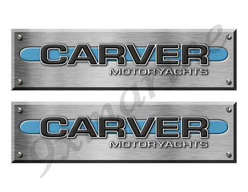 Carver Motoryacht Remastered Stickers. Brushed Metal Style