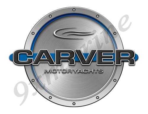 "Carver Motoryacht Remastered Sticker. Brushed Metal Style - 7.5"" diameter"
