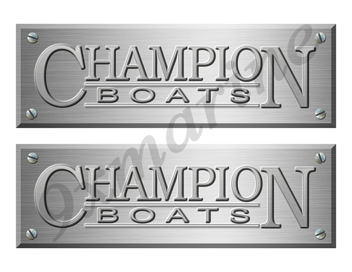 "Champion Boat Stickers Brushed Metal Look - 10"" long"
