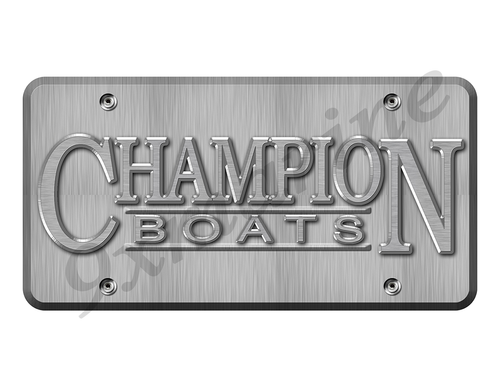 "Champion Boat Sticker Brushed Metal Look - 10""x5"""
