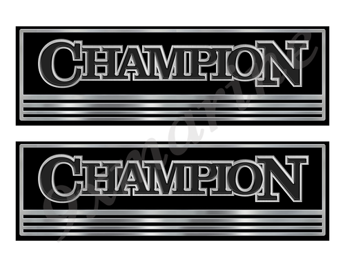 Champion Custom Stickers - 10 inch long set. Remastered Name Plate