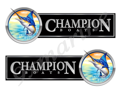 2 Champion Boat Marlin Type Stickers