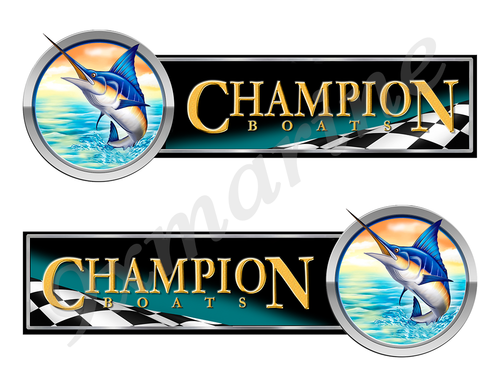 2 Champion Boat Marlin Racing Type Stickers