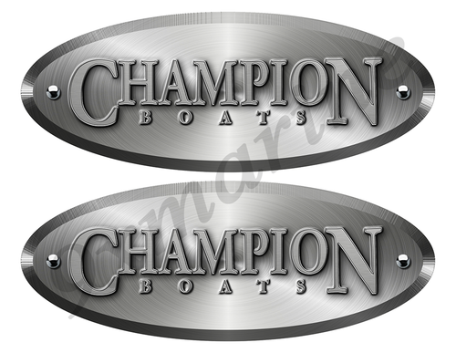 Champion New Style Oval Stickers Brushed Metal Look