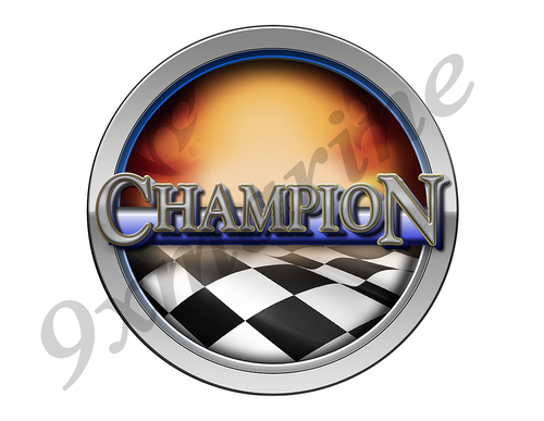 Champion Racing Boat Round Sticker - Name Plate