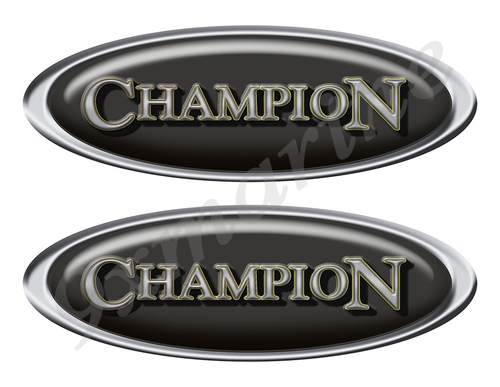 """Two Champion Classic Oval Stickers 10"""" long"""