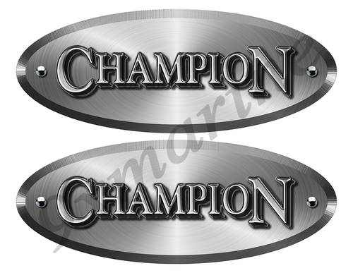 Champion Boat Old Style Oval Stickers - Brushed Metal Look