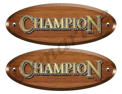 Champion Wood Grain Boat Restoration Sticker set
